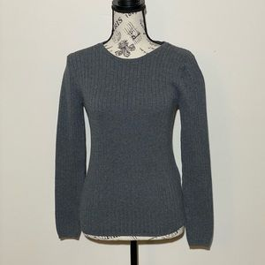 Talbots Ribbed Sweater Grey Size Small